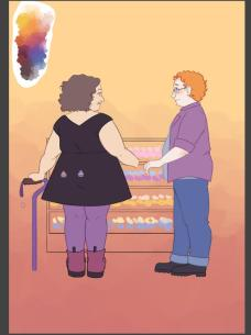 A fat brunette cane-using woman in a black dress holding hands with a fat redheaded trans man in jeans and an open plaid shirt in front of a bakery display case full of cupcakes. Her hair has loose curls, and she stands with her feet together and her cane turned sideways. She is midsize/medium fat and her dress is a perfect A line with no fat rolls showing anywhere. A color palette is above her left shoulder.
