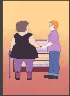 A fat brunette cane-using woman stands with her legs apart in a black dress holding hands with a fat redheaded trans man in jeans and an open plaid shirt in front of a bakery display case full of cupcakes. Her hair is tightly curled and she is large fat, with clearly depicted rolls in her back, legs and arms.